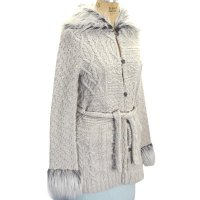 Hand knit Fur collar long sleeve cheeker Jacket