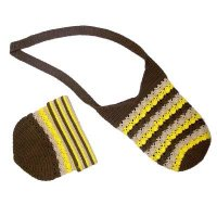 Hand crochet multi colors stripes bag & hat