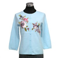 12gg 3/4 sleeves w/beading/embroidery/applique flower/cover buttons on front cardigan