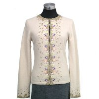 12gg long sleeves cardigan w/beading and embroidery on front and cuff and lining