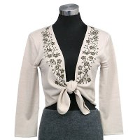 12gg 3/4 sleeves tie front w/embroidery cardigan