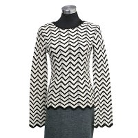 7gg computer knit long sleeves pullover allover stripe